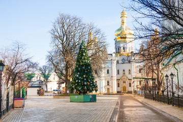 View of Kiev Pechersk Lavra with new year tree