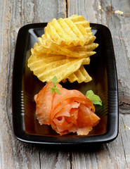 Smoked Salmon and Potato Chips