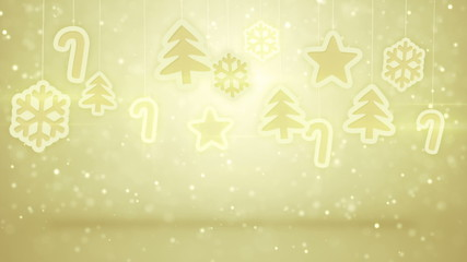gold hanging christmas decoration loopable background