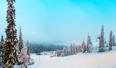 View of the ski slope Ruka, Finland.