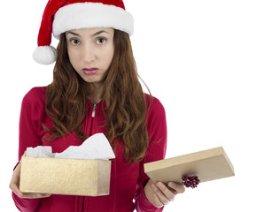Disappointed christmas gift box woman