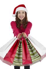 Christmas woman after christmas shopping