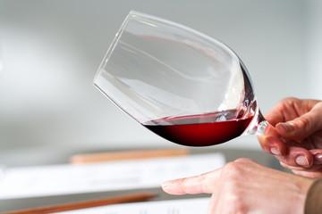 Hands testing wine density at tasting.