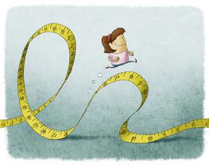 woman running on tape measure