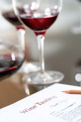 Macro close up of data sheet at wine tasting.