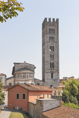 Basilica San Frediano in the Old Town of Lucca, Italy.