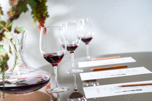 Papiers peints Vin Wine tasting table set with decanter and glasses.