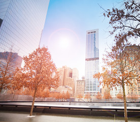 View of memorial 911 with sunlight, New York, USA