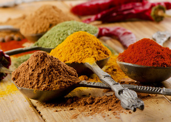 Selection of dried spices .
