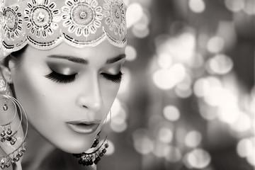 Ethnic Beauty Fashion. Ethnic Woman. Monochrome Portrait