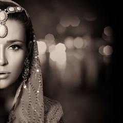 Beauty Ethnic Woman Face. Monochrome Portrait