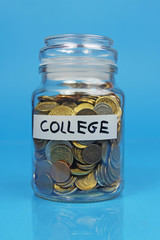 jar filled with money- concept of saving for college