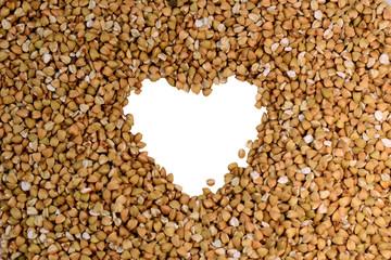 Buckwheat with white heart shape