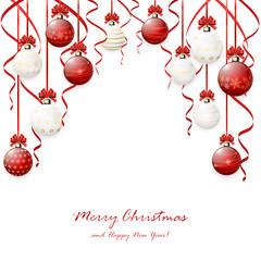Red Christmas balls and tinsel