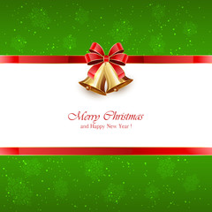 Green Christmas background with bells and red bow