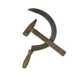 old rusty  sickle and hammer