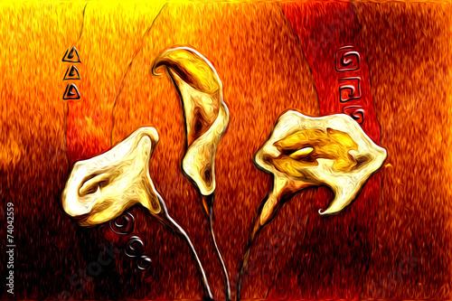 Canvas Bloemen Schilderen Abstract flower oil painting