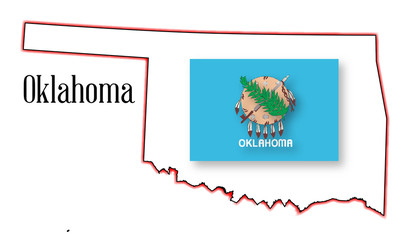 Oklahoma State Map and Flag
