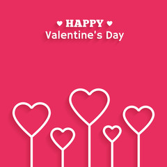 Valentine's Day flat style greeting card. Vector illustration