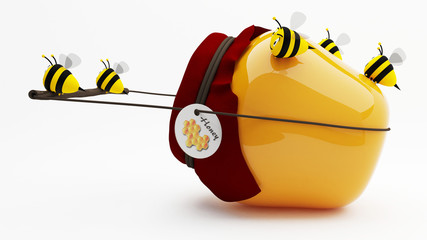 Industrious bees that produce honey