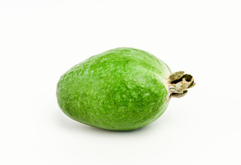 One whole ripe feijoa isolated on white background
