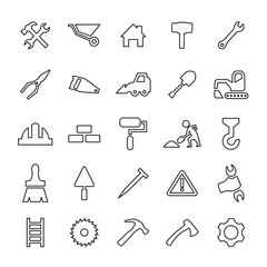 25 outline, universal construction icons.
