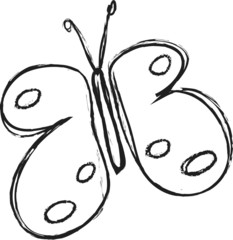doodle butterfly simple icon