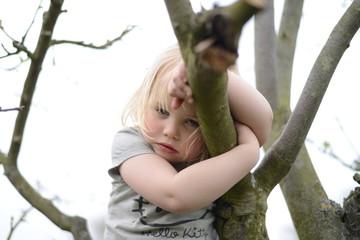 Mädchen beim Klettern auf einem Baum