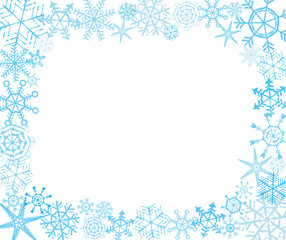 Hand-drawn snowflake frame in white and blue