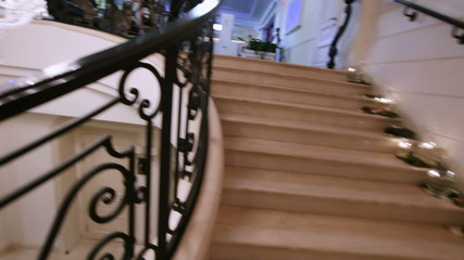 Marble staircase with Crystal Chandelier