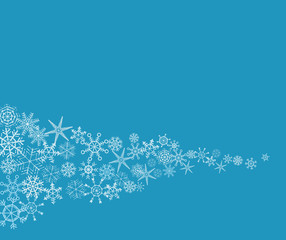 Hand-drawn snowflake abstract background in blue and white