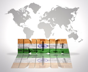 Word India on a world map background