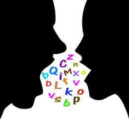 silhouette di uomo e donna che discutono