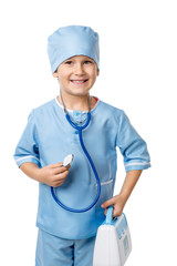 Boy with stethoscope playing in a doctor, isolated on white