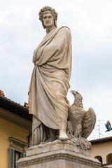 Marble statue of Dante Alighieri in Florence