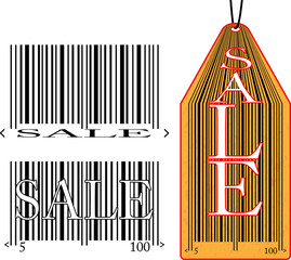 Label with the bar code and the inscription sale