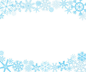 Hand-drawn snowflake frame in white and blue, upper and lower