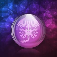 Luminescent snow globe with zodiac Scorpio sign