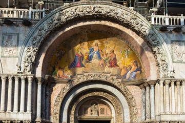 Mosaic at the entrace to San Marco Basilica in Venice, Italy