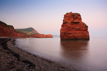 Sea stack in Ladram Bay, Devon, UK.