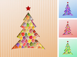 Fir Tree Mosaic Background Christmas; eps10