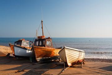 Boats on the slipway in Sidmouth, Devon, UK.