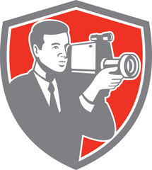 Video Cameraman Shooting Vintage Shield Retro