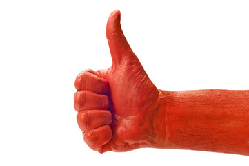 Red Paint Thumbs Up
