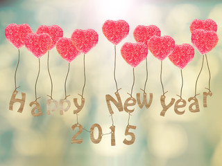 2015 Happy New Year with blurred background. Defocused
