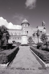 Palermo Cathedral. Black and white image