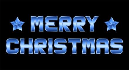 Merry Christmas, blue metal greeting, black background