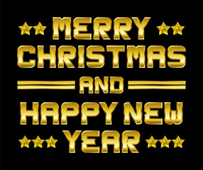 Merry Christmas and happy New Year, golden greeting, black backg
