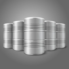 Blank vector realistic blank big oil barrels isolated on gray