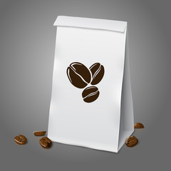 Blank white vector realistic paper packaging coffee bag with